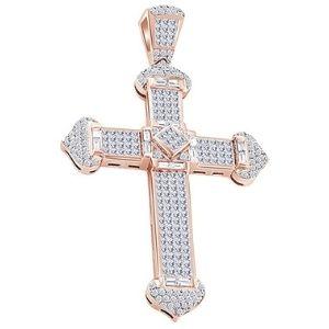 colgante de cruz hip hop para mujer, de oro rosa macizo de 14 k con diamantes