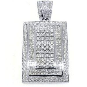 colgante rectangular para mujer, de oro blanco de 14 k con diamantes