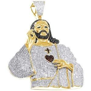 colgante de jesucristo para mujer, de oro amarillo solido de 14 k con diamantes