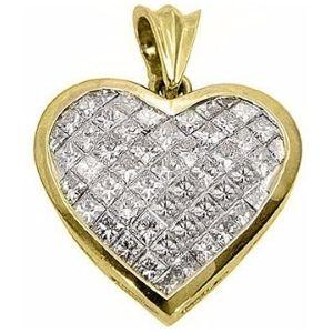 colgante de corazon para mujer, de oro amarillo de 18 k con diamantes