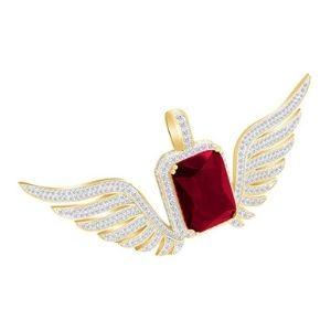 colgante de alas para mujer, de oro amarillo macizo de 14 k con granate y diamantes