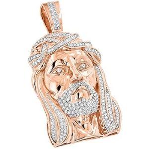 colgante de jesus para mujer, de oro rosa de 14 k con diamantes