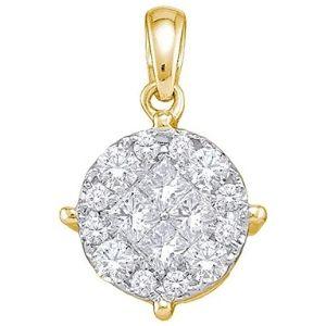 colgante de princesa para mujer, de oro amarillo de 14 k con diamantes