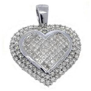 colgante de corazon para mujer, de oro blanco de 14 k con diamantes