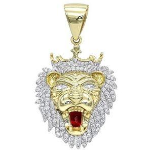 colgante de leon para hombre, de oro amarillo de 10 k con diamantes