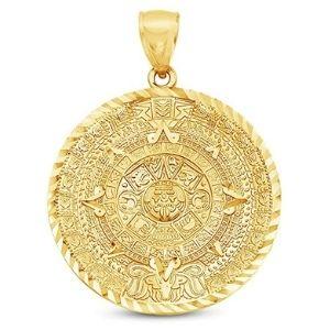 colgante de calendario azteca para hombre, de oro amarillo de 14 k