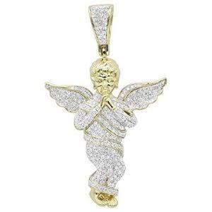 colgante de angel para hombre y mujer, de oro amarillo solido de 10 k con diamantes