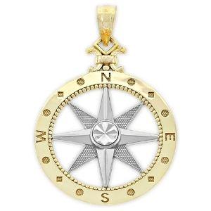 colgante de brujula para hombre, de oro amarillo macizo de 14 k con centro de rodio y diamante