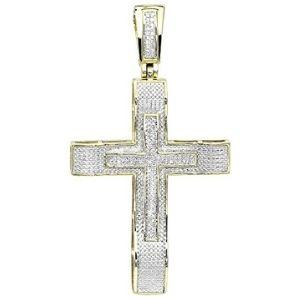 colgante de doble cruz para hombre, de oro blanco y amarillo macizos de 10 k