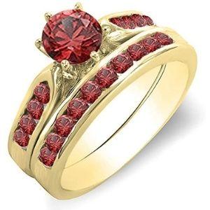 conjunto de anillos de compromiso, de oro amarillo de 14 k con rubies