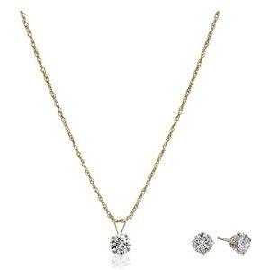 conjunto de collar + pendientes para mujer, de oro amarillo de 10 k con circonitas swarovski