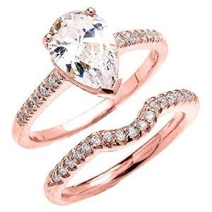 conjunto de anillos de compromiso, de oro rosa de 10 k con circonitas