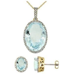 conjunto de collar + aretes para mujer, de oro amarillo macizo de 10 k con diamantes