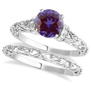 conjunto de anillos de boda, de oro blanco de 14 k con diamantes y piedra de alejandrita