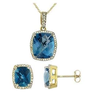 conjunto de collar + aretes para mujer, de oro amarillo macizo de 10 k con topacio azul