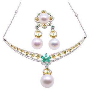 conjunto de collar + pendientes para mujer, de oro blanco y amarillo de 10 k con perlas
