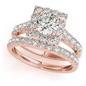 conjunto de anillos nupciales, de oro rosa de 18 k con diamantes
