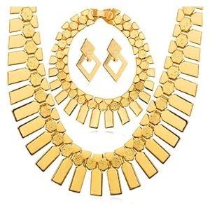 juego de collar, gargantilla y pendientes estilo africano para mujer, chapados en oro amarillo de 18 k