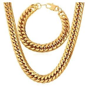 conjunto de cadena + pulsera para hombres, chapados en oro amarillo de 18 k