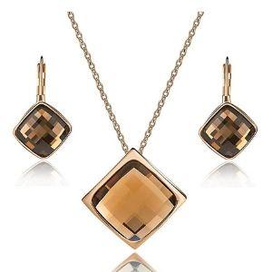 conjunto de collar + pendientes de cristal austriaco cuadrado para mujer, chapados en oro rosa de 18 k