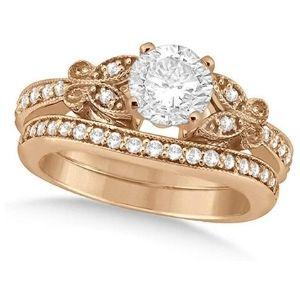 conjunto de anillos nupciales, de oro rosa macizo de 18 k con diamantes