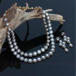 conjunto de collar de doble fila + pendientes para mujer, de oro amarillo solido de 14 k con diamantes