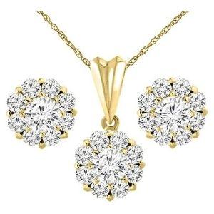 conjunto de pendientes + colgante tipo halo para mujer, de oro amarillo macizo de 14 k con diamantes
