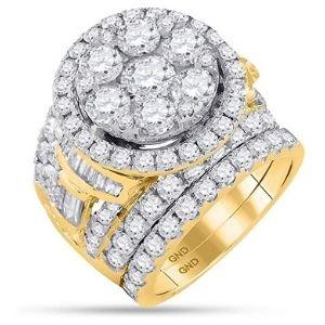 conjunto de anillos nupciales, de oro amarillo de 14 k con diamantes redondos