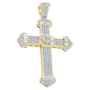 colgante de cruz hip hop en diseño de princesa, de oro amarillo macizo de 10 k con diamantes