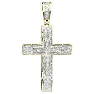 cruz hip hop doble para hombres, de oro amarillo macizo de 10 k con diamantes