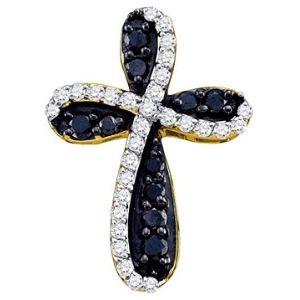 cruz de oro amarillo de 10 k con diamantes redondos blancos y negros