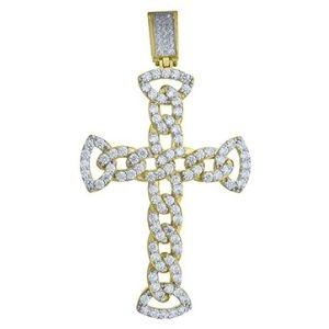 cruz religiosa para hombre, de oro amarillo de 10 k con circonitas