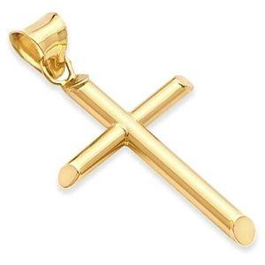cruz religiosa para hombre y mujer, de oro amarillo de 14 k