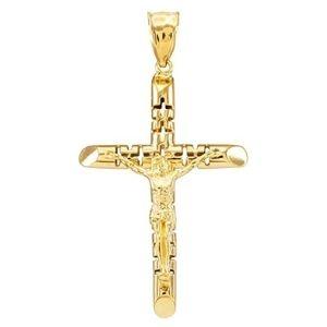 cruz artistica de jesucristo, en oro amarillo macizo de 14 k