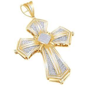cruz hip hop para hombres y mujeres, de oro amarillo macizo de 14 k con diamantes