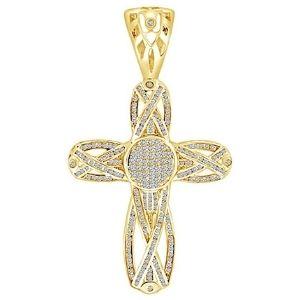 cruz de corte princesa para hombres, de oro amarillo macizo de 14 k con diamantes