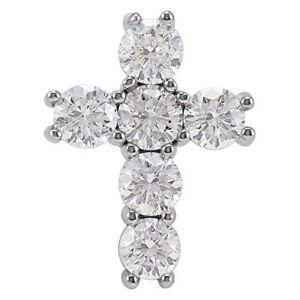 cruz religiosa para mujeres, de oro blanco de 14 k con diamantes redondos