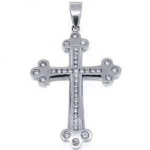 cruz religiosa de oro blanco macizo de 14 k con diamantes redondos