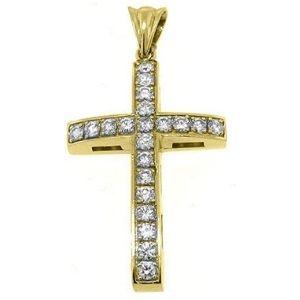 cruz de oro amarillo solido de 14 k con diamantes blancos