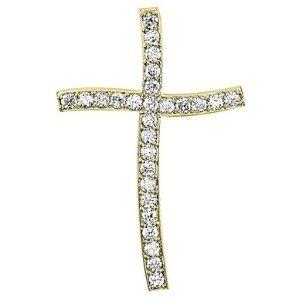 cruz curva grande, de oro amarillo de 14 k con diamantes