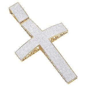 cruz hip hop de oro amarillo macizo de 10 k con diamantes