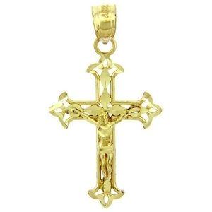 cruz en diseño flor de lis, de oro amarillo macizo de 14 k