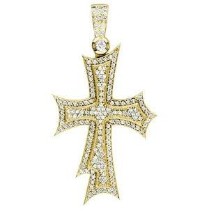cruz enorme para hombre y mujer, de oro amarillo de 18 k con diamantes