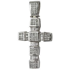 cruz grande y pesada para hombres, de oro blanco de 18 k con diamantes