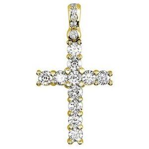 cruz para mujeres de oro amarillo de 18 k con diamantes redondos