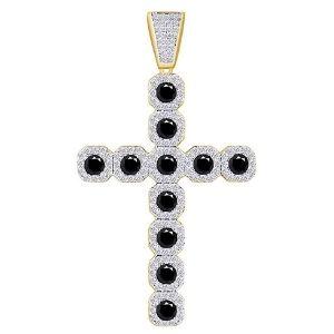 cruz hip hop de oro amarillo macizo de 10 k con diamantes blancos y negros