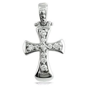 cruz para hombre y mujer, de oro blanco de 18 k con diamantes