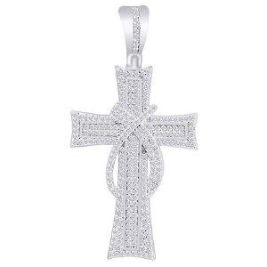 cruz hip hop de oro blanco macizo de 10 k con diamantes