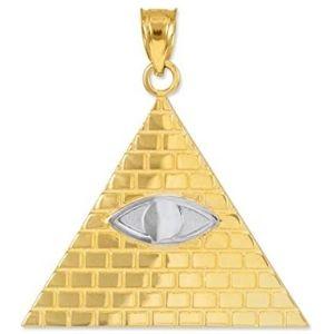 dije de piramide illuminati para hombre, de oro amarillo de 14 k