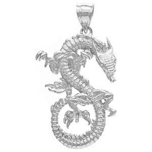 dije de dragon para hombre, de oro blanco solido de 14 k